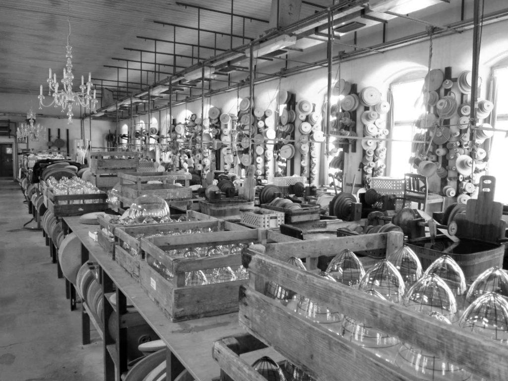 ボヘミアクリスタルの工場